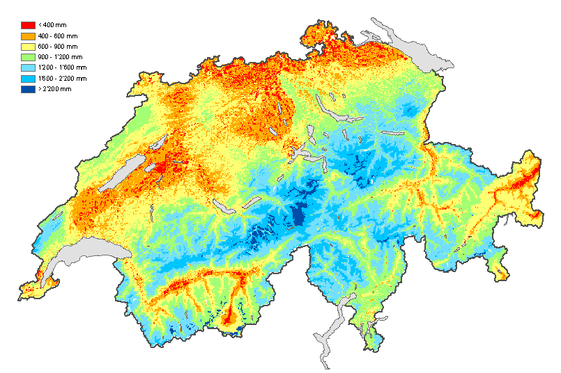 Mean annual runoffs in Switzerland 2070-2099