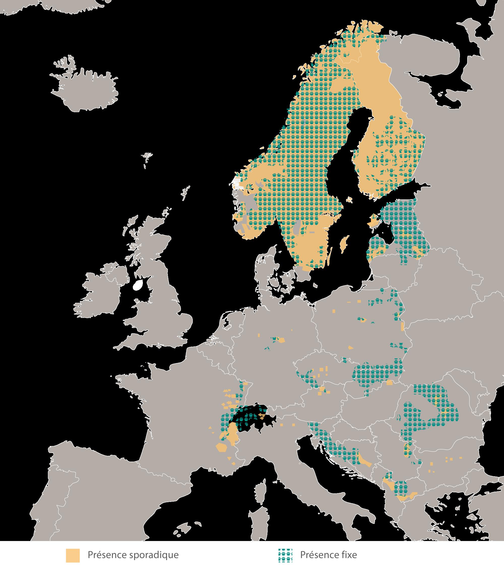 Aire de répartition géographique du lynx des Carpates en Europe 2012/2013. Source: Chapron et al. 2014.
