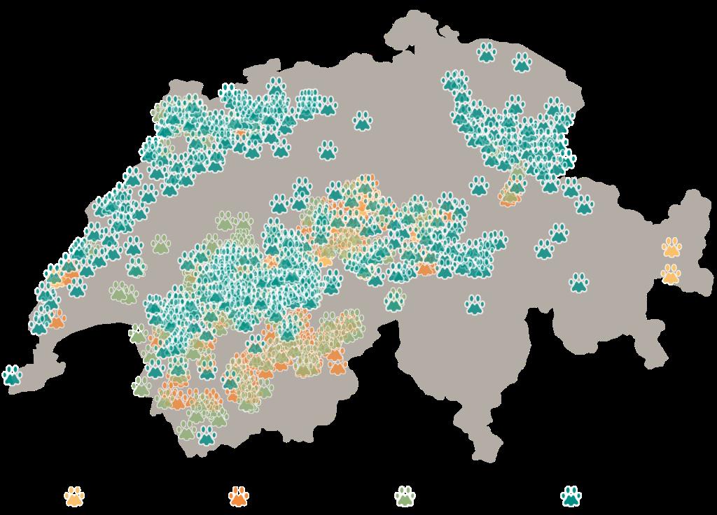 Aire de répartition géographique du lynx des Carpates en Suisse  de 1971 - 2017.