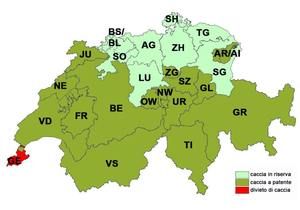 Cantoni Cartina Della Svizzera.Caccia